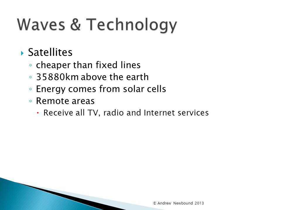 Waves & Technology Satellites cheaper than fixed lines