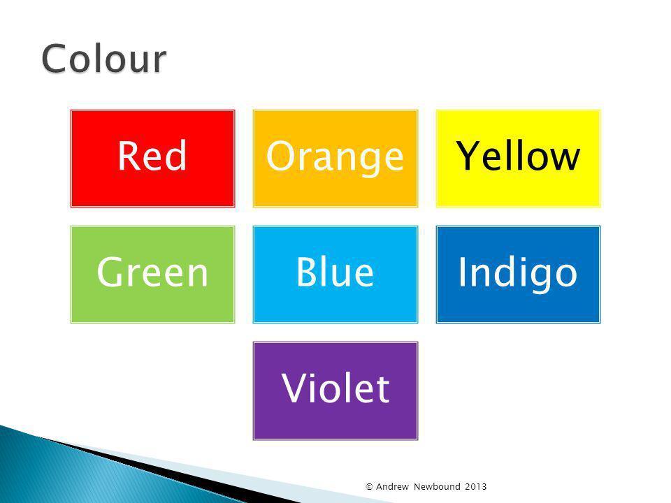 Colour © Andrew Newbound 2013 Red Orange Yellow Green Blue Indigo