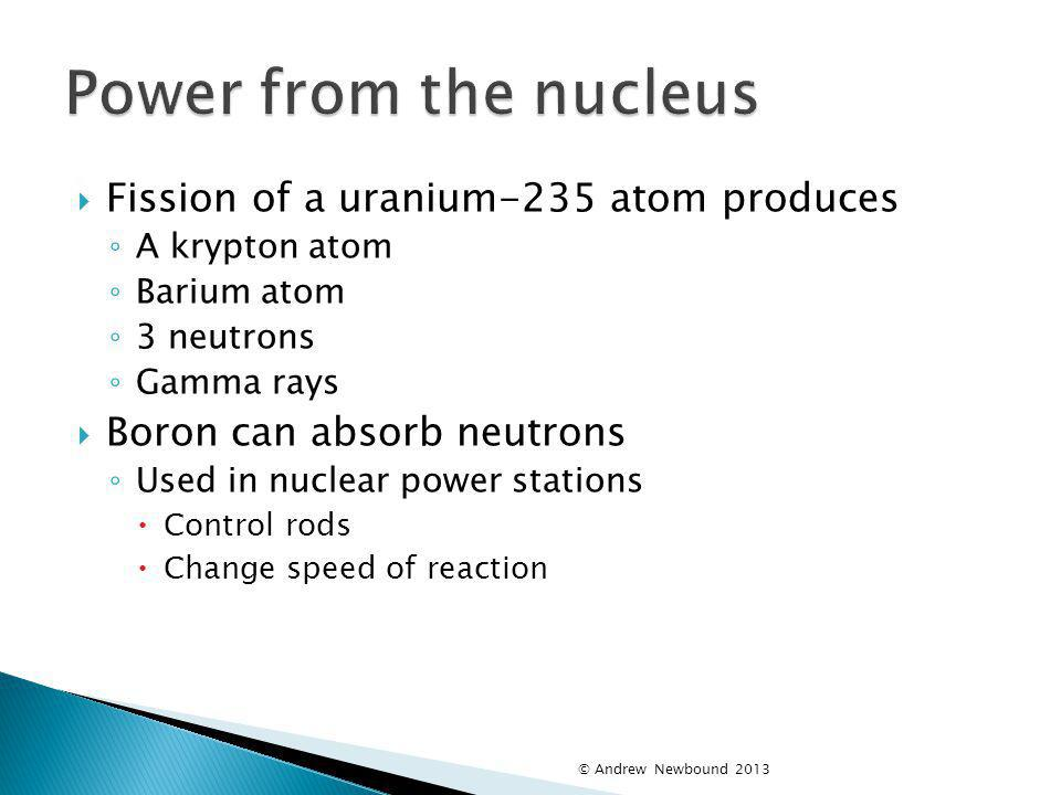 Power from the nucleus Fission of a uranium-235 atom produces
