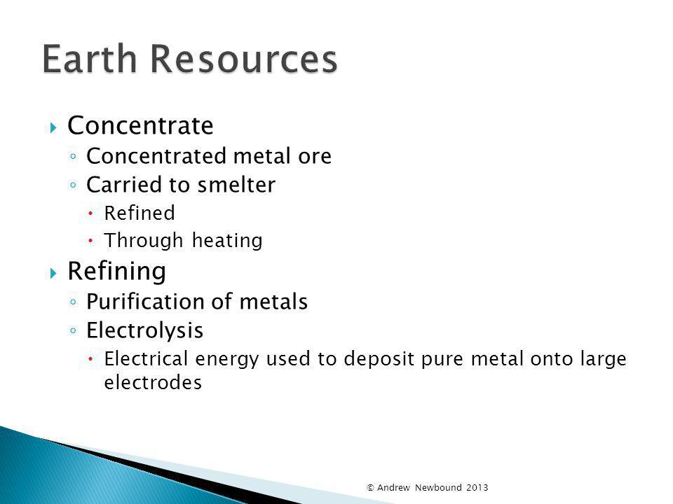 Earth Resources Concentrate Refining Concentrated metal ore