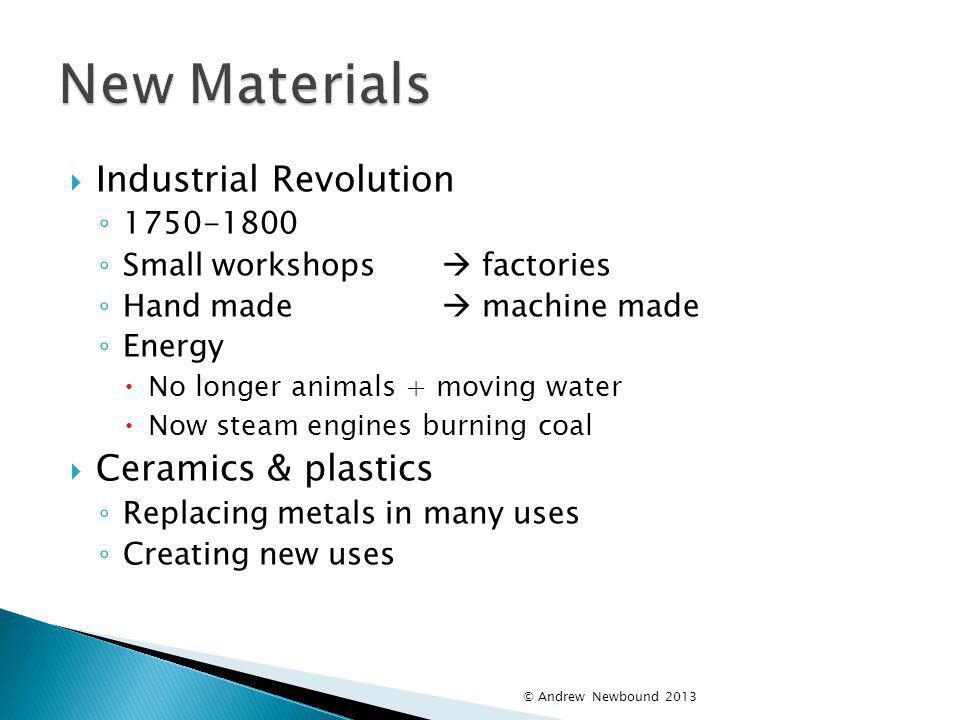 New Materials Industrial Revolution Ceramics & plastics 1750-1800