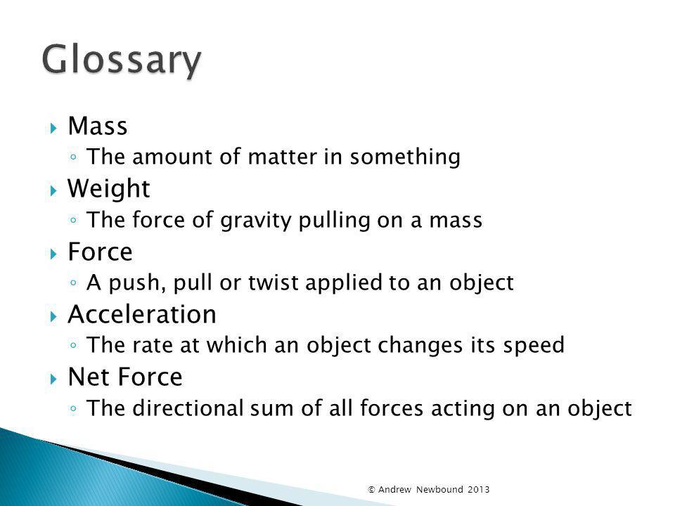 Glossary Mass Weight Force Acceleration Net Force