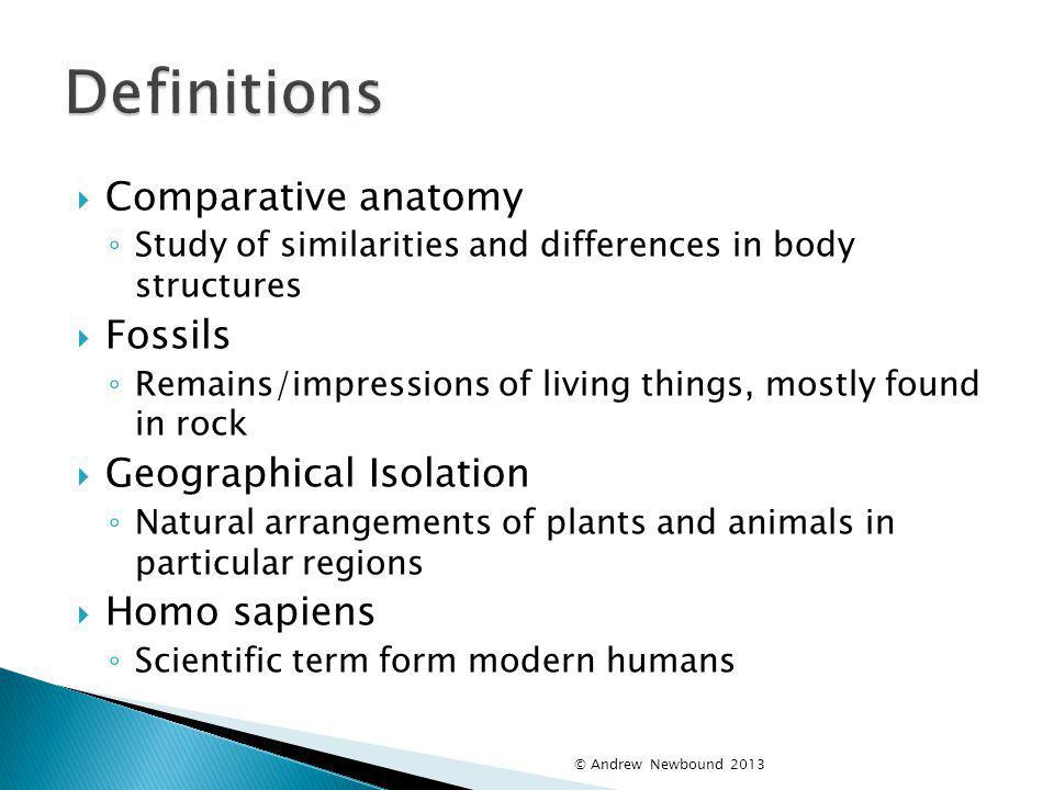 Definitions Comparative anatomy Fossils Geographical Isolation