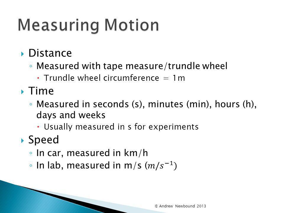 Measuring Motion Distance Time Speed