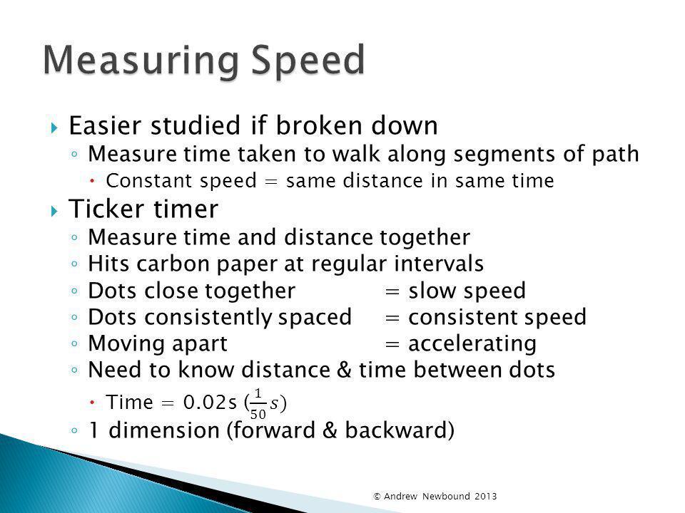 Measuring Speed Easier studied if broken down Ticker timer