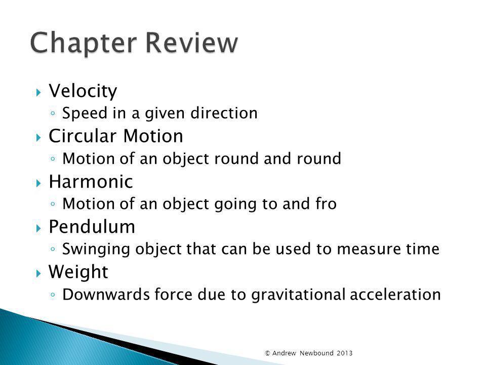 Chapter Review Velocity Circular Motion Harmonic Pendulum Weight