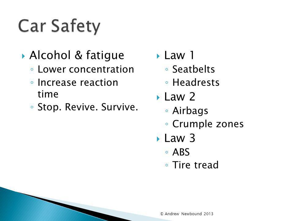 Car Safety Alcohol & fatigue Law 1 Law 2 Law 3 Lower concentration
