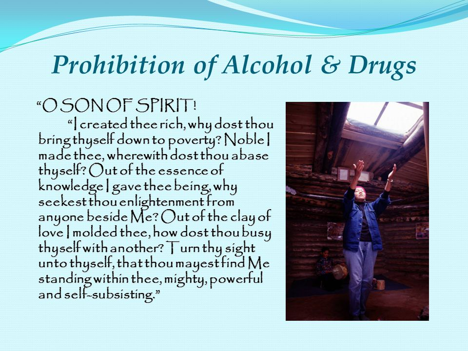 Prohibition of Alcohol & Drugs