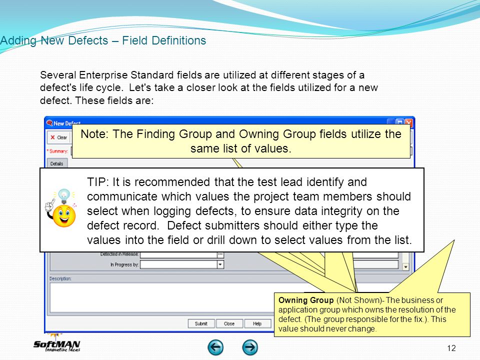 Adding New Defects – Field Definitions