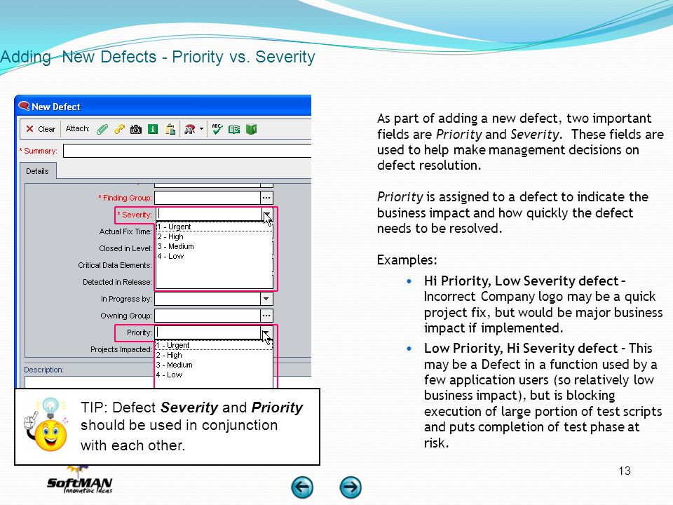 Adding New Defects - Priority vs. Severity