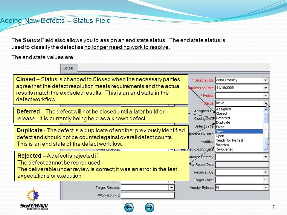 Adding New Defects – Status Field