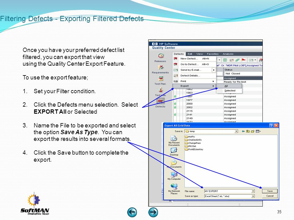 Filtering Defects - Exporting Filtered Defects