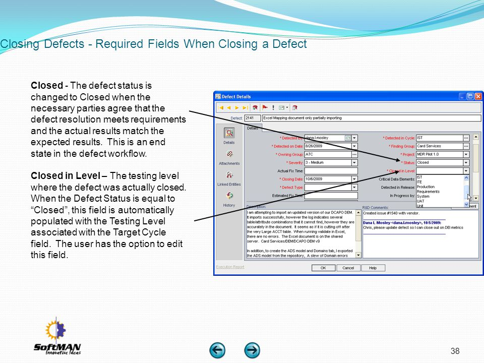 Closing Defects - Required Fields When Closing a Defect