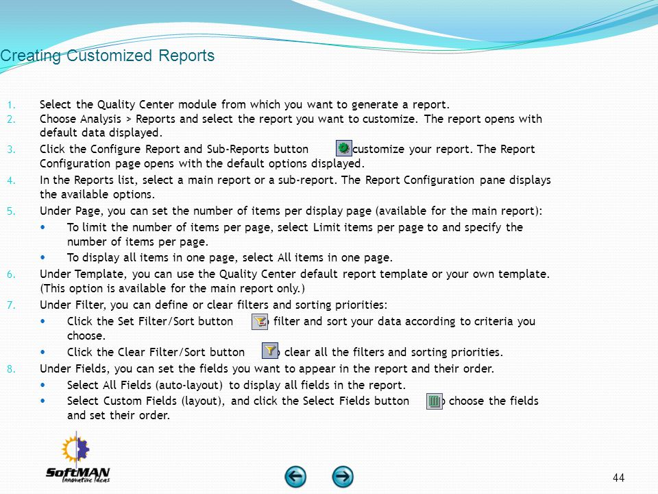 Creating Customized Reports