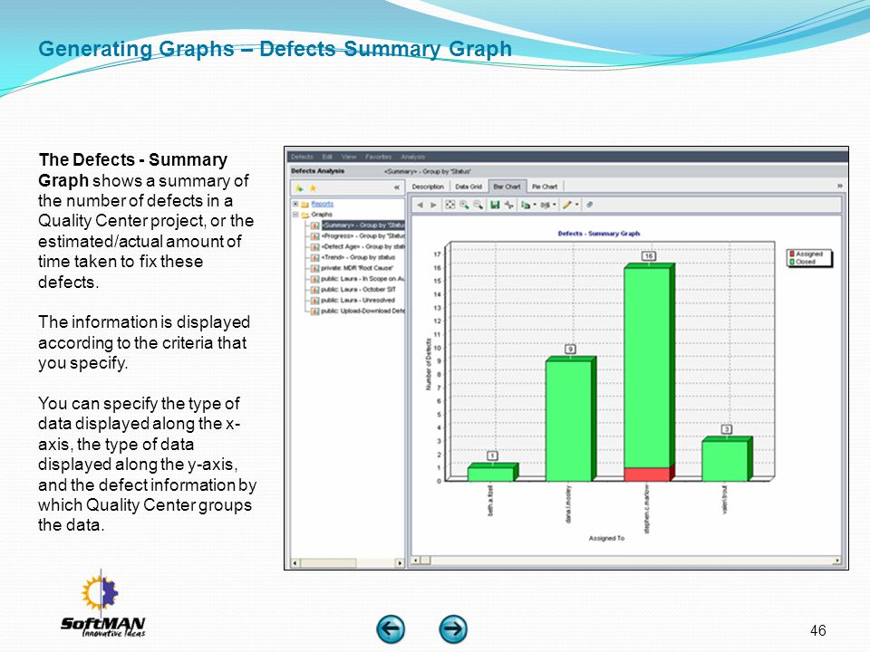 Generating Graphs – Defects Summary Graph