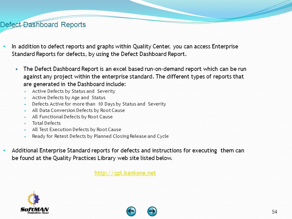 Defect Dashboard Reports