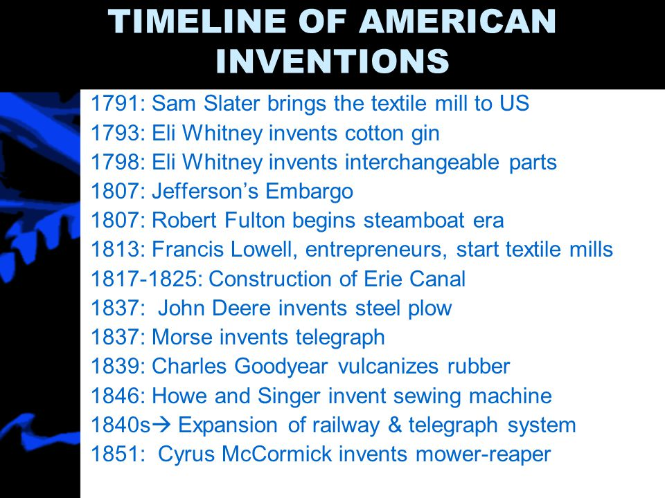 TIMELINE OF AMERICAN INVENTIONS