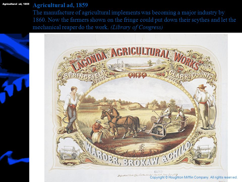 Agricultural ad, 1859 Agricultural ad, 1859.
