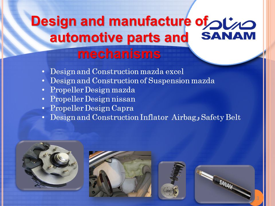 Design and manufacture of automotive parts and mechanisms