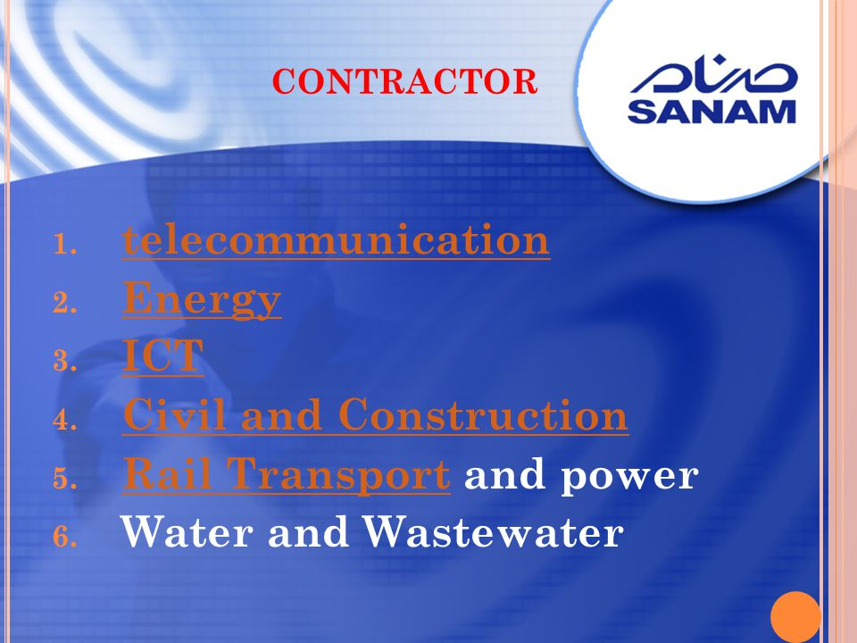 contractor telecommunication. Energy. ICT. Civil and Construction.
