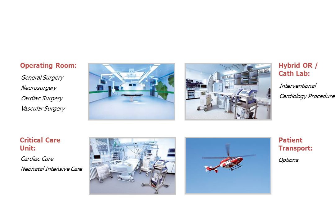 Operating Room: Hybrid OR / Cath Lab: Critical Care Unit: