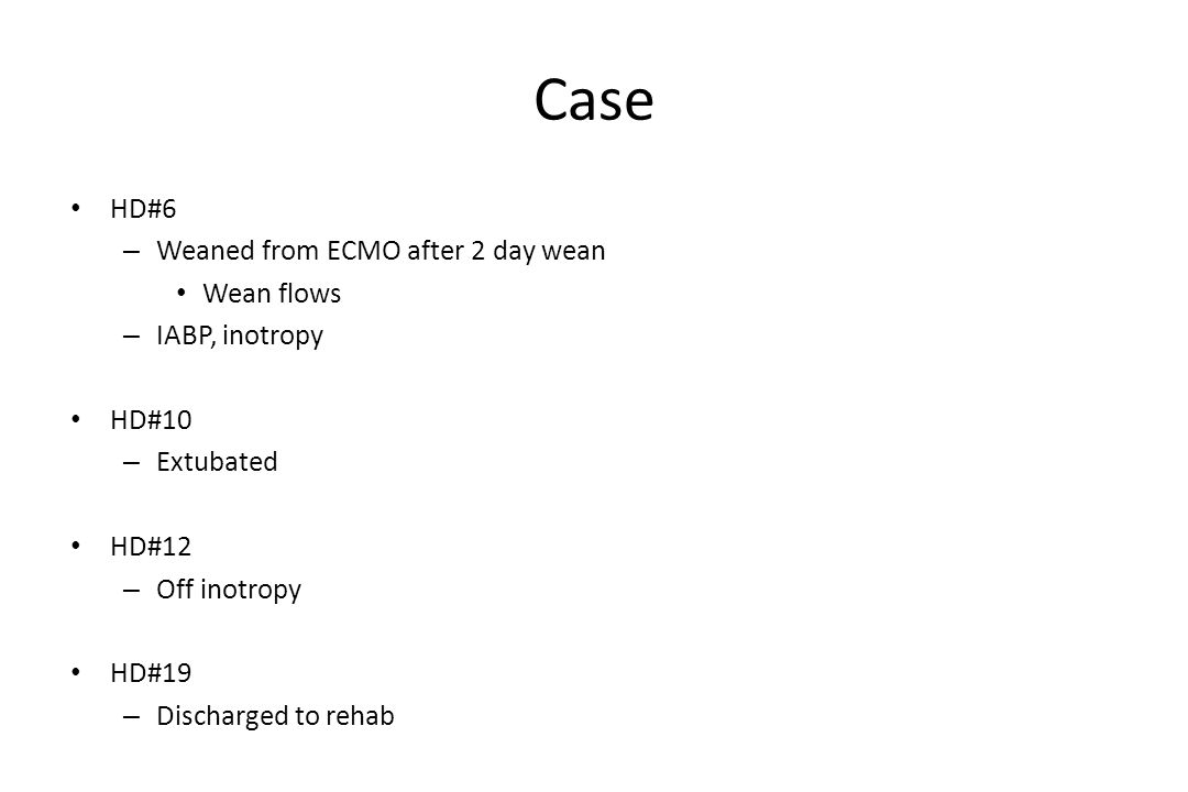 Case HD#6 Weaned from ECMO after 2 day wean Wean flows IABP, inotropy