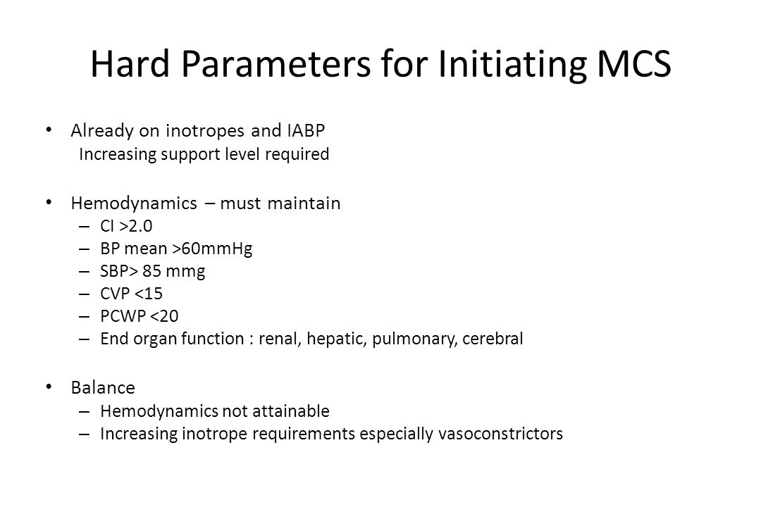 Hard Parameters for Initiating MCS