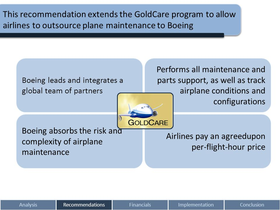 This recommendation extends the GoldCare program to allow airlines to outsource plane maintenance to Boeing