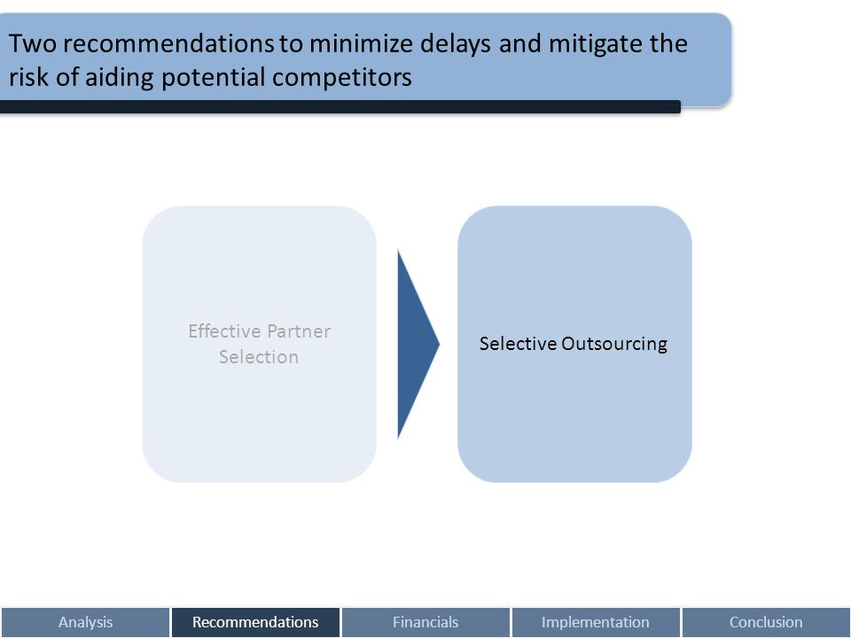 Two recommendations to minimize delays and mitigate the risk of aiding potential competitors