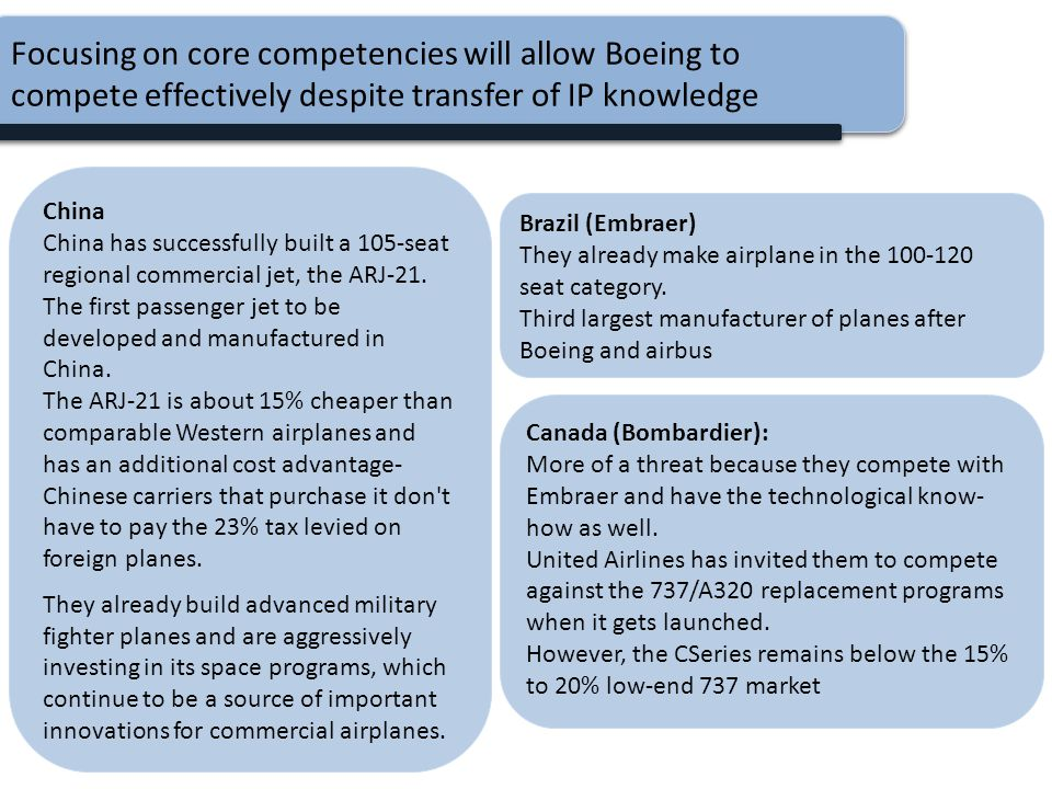 Focusing on core competencies will allow Boeing to compete effectively despite transfer of IP knowledge