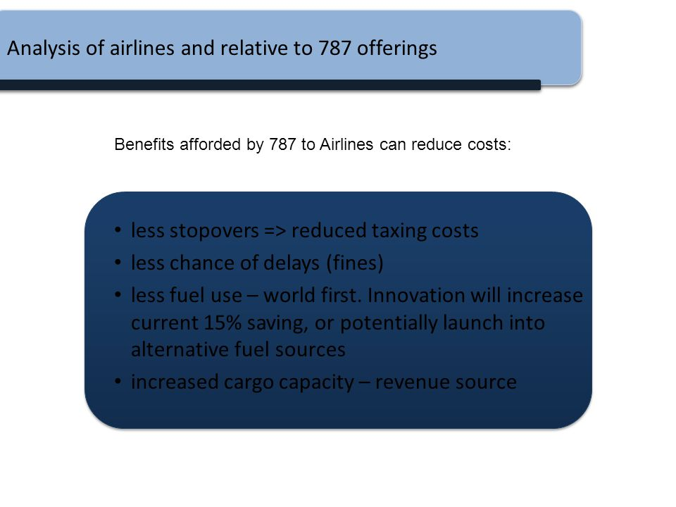 Analysis of airlines and relative to 787 offerings