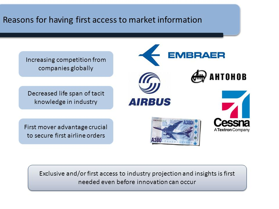 Reasons for having first access to market information