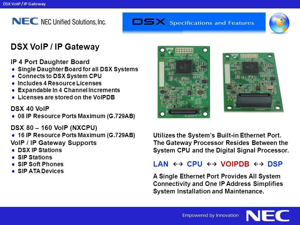 DSX VoIP / IP Gateway LAN  CPU  VOIPDB  DSP