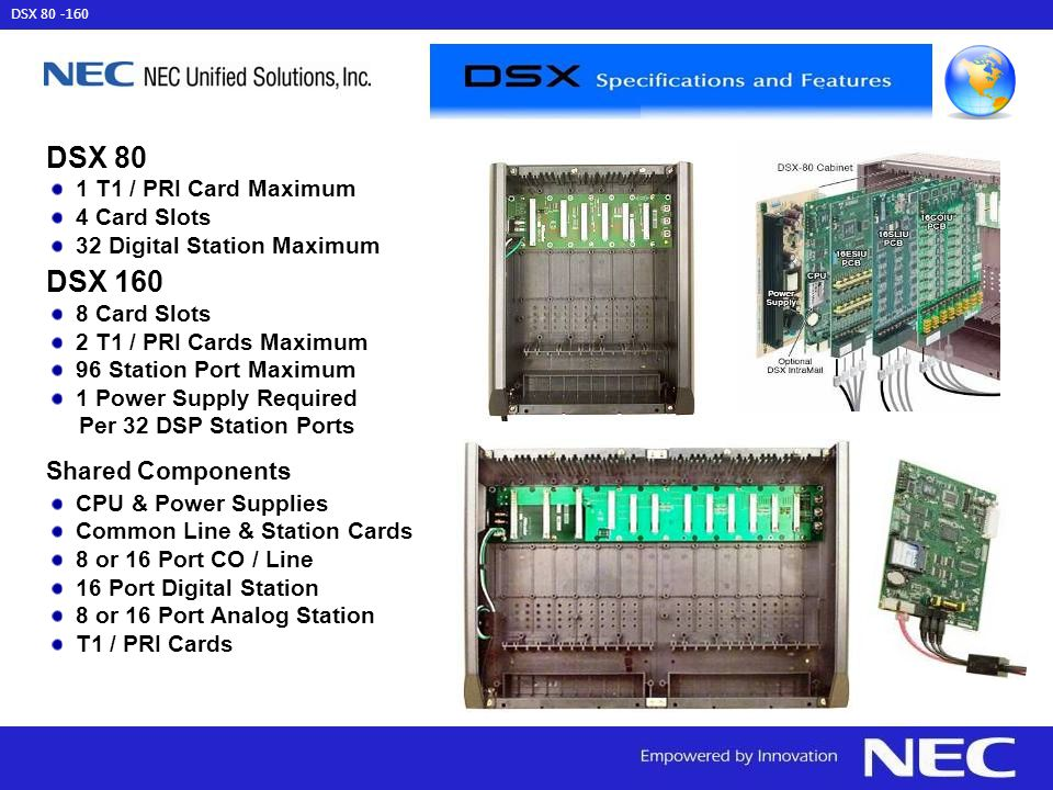 DSX 80 DSX 160 Shared Components 1 T1 / PRI Card Maximum 4 Card Slots