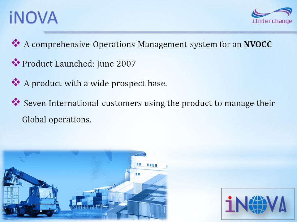 iNOVA A comprehensive Operations Management system for an NVOCC