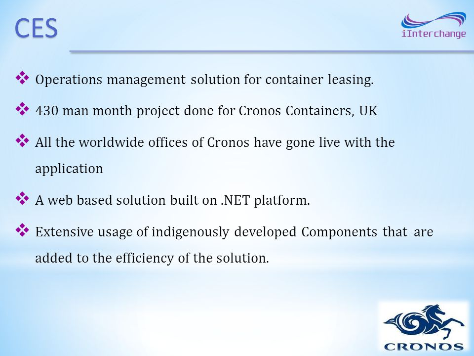 CES Operations management solution for container leasing.