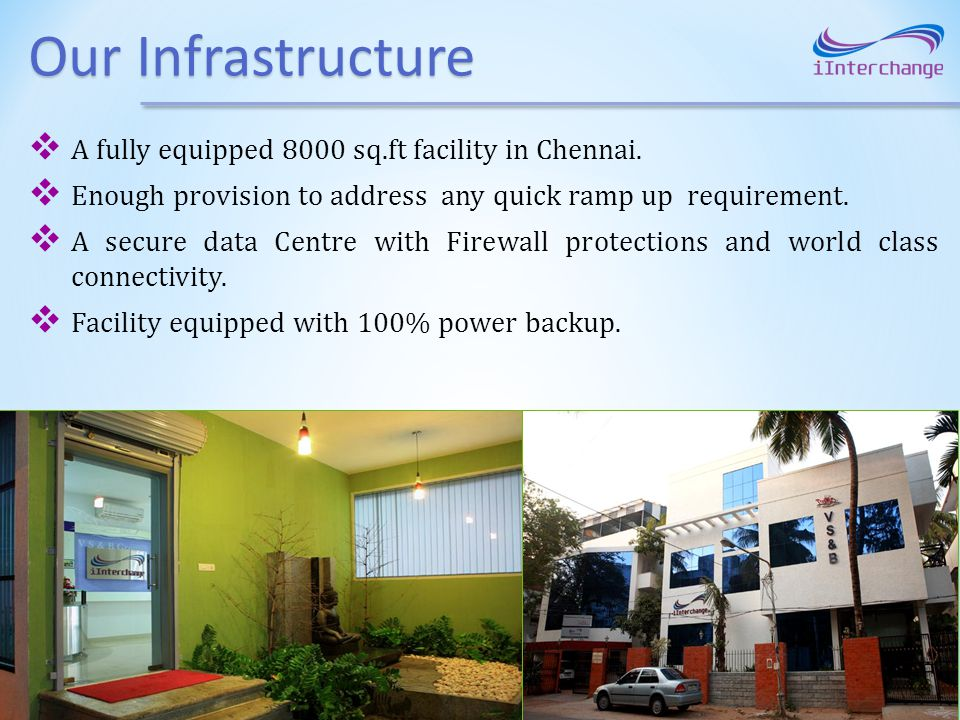 Our Infrastructure A fully equipped 8000 sq.ft facility in Chennai.