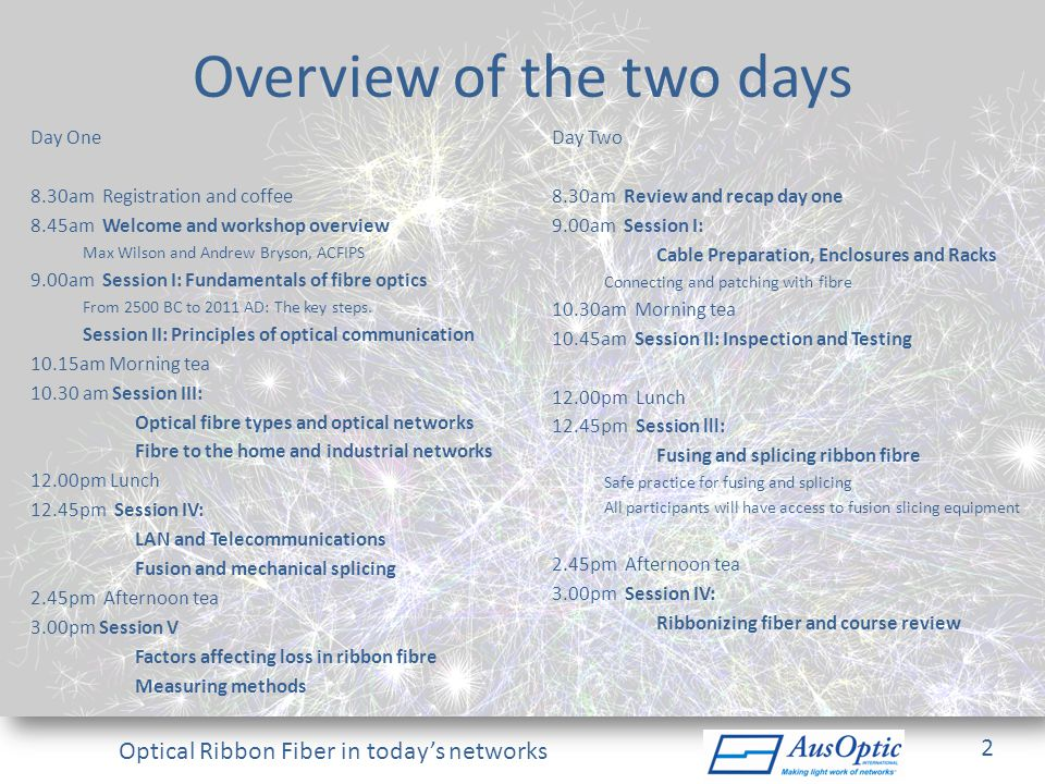 Overview of the two days