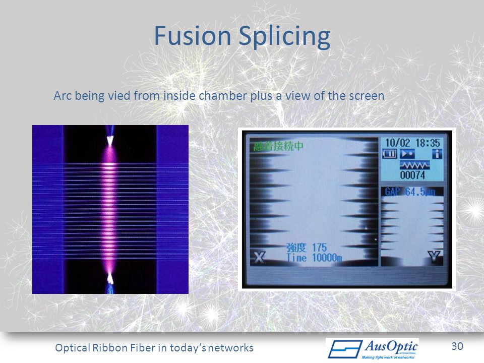 Fusion Splicing Arc being vied from inside chamber plus a view of the screen