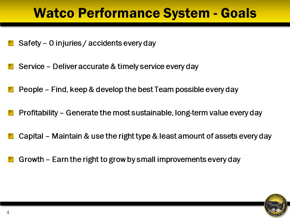 Watco Performance System - Goals