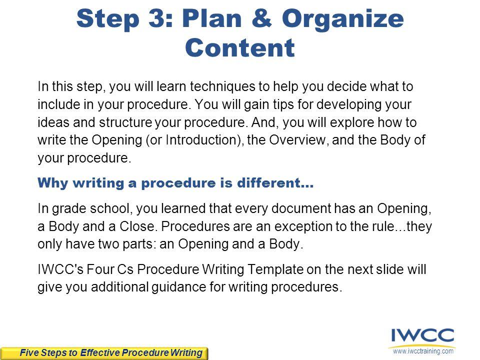 Step 3: Plan & Organize Content