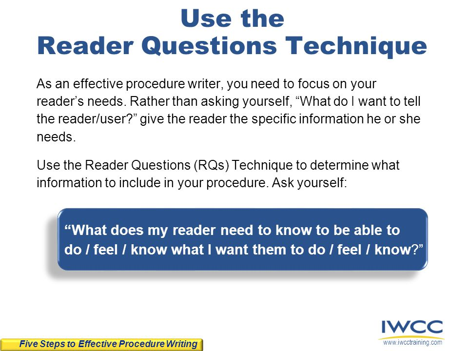 Use the Reader Questions Technique
