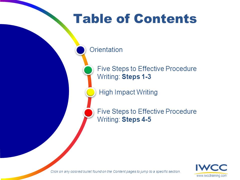 Table of Contents Orientation