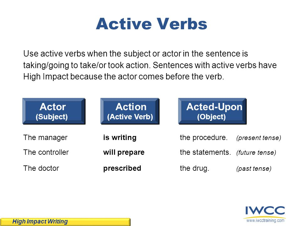 Active Verbs Actor Action Acted-Upon