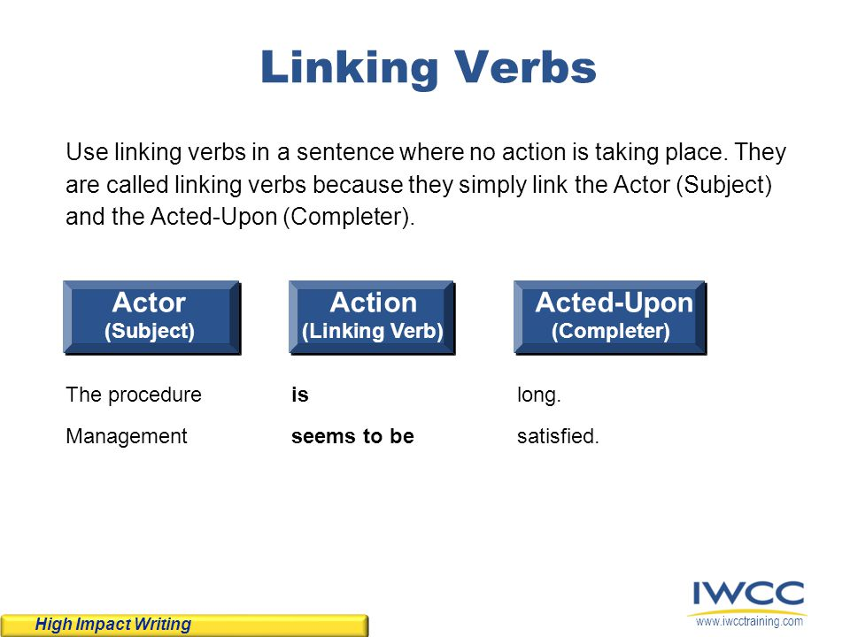 Linking Verbs Actor Action Acted-Upon