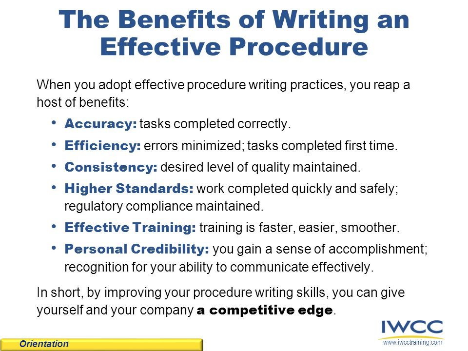 The Benefits of Writing an Effective Procedure