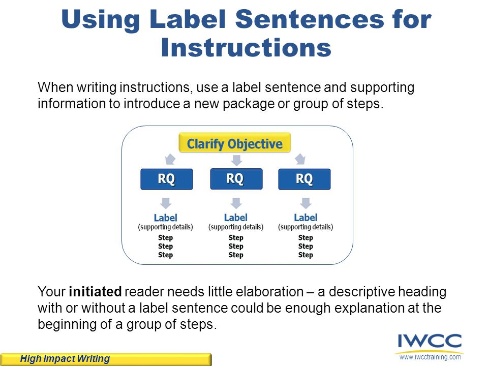 Using Label Sentences for Instructions