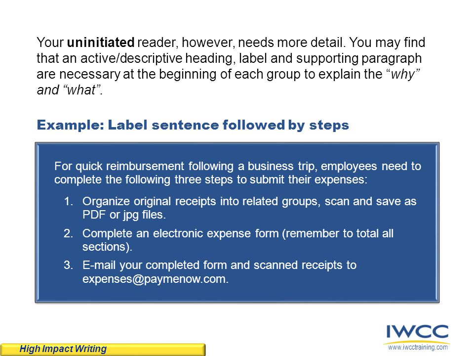 Example: Label sentence followed by steps