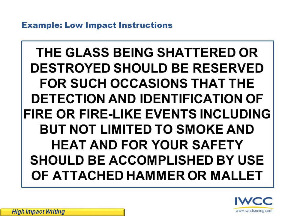 Example: Low Impact Instructions