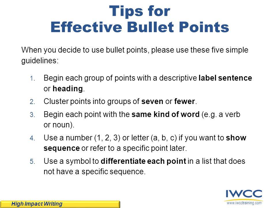 Tips for Effective Bullet Points